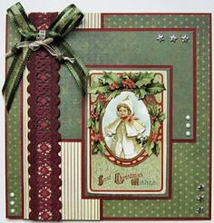 Misseke's House of Crafts: A vintage Christmas Christmas Journal, Christmas Scrapbook, Christmas Cards To Make, Vintage Christmas Cards, Xmas Cards, Vintage Cards, Handmade Christmas, Holiday Cards, Christmas Crafts