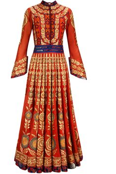 Red resham and zari embroidered anarkali with red crushed embroidered dupatta available only at Pernia's Pop-Up Shop.