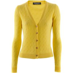 Bruno Manetti Yellow Cable Cashmere Cardigan Giacca (33.670 RUB) ❤ liked on Polyvore featuring tops, cardigans, sweaters, jackets, outerwear, women, cardigan top, bruno manetti, chunky cable cardigan and chunky cable knit cardigan