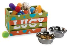 Cute to keep the dog stuff in. Or make one for each kid to use to collect their random toys for nightly pick up.