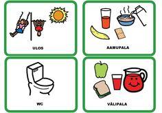 päivälokerikkokkortit kotiin Early Childhood Education, Pre School, Finland, Activities, Toddlers, Communication, Peda, Learning Arabic