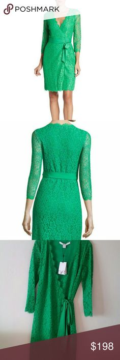 """DIANE VON FURSTENBERG Julianna Lace Wrap Dress NWT! In Spring Green🍀🍀🍀Perfect spring and summer dress🍀🍀🍀  FEATURES AND DETAILS:  *Surplice neckline. *Sheer three-quarter sleeves. *Wraparound closure with tie. *70% rayon/ 30% nylon with 97% polyester, 3%  spandex *About 40"""" length ( size 8 ) Diane von Furstenberg Dresses"""