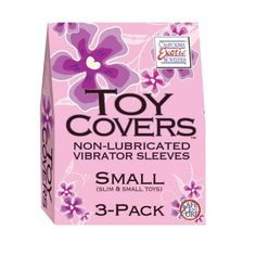 TOY COVERS 3 PACK SMALL only Price : $6.80    Toy Covers setting new standards for adult toy performance and personal hygiene! Sized for a secure fit on most toys. Cover up with Toy Covers. California Exotic Novelties brand Toy Cover is a sanitary sleeve made of the highest quality natural rubber. Toy Covers setting new standards for adult toy performance and personal hygiene! Sized for a secure fit on most toys. Cover up with Toy Covers. California Exotic Novelties brand Toy