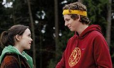 """Ellen Page e Michael Cera em JUNO (Juno). 1-""""Toda vez que te vejo, o bebê começa a chutar forte.  Deve ser porque meu coração bate mais rápido."""""""