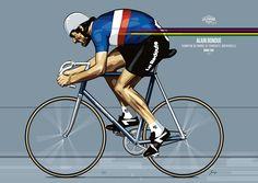 """@casquetteurs Dans la collection """"Légendes du Cyclisme""""by http://www.gregpeintredusport.com   Mr @abondue """"Alain Bondue"""" no @casquetteurs @GregLegende"""