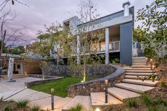 This Stellenbosch family home is satisfyingly modern, but also an oasis of tranquillity in a […] Home Design Plans, Plan Design, Design Ideas, Stair Railing, Railings, Narrow Staircase, Building A New Home, Open Plan Living, Old Houses