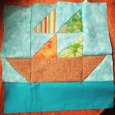 Completed a hand sewn sailboat  #sailboat #handsewing #sew #sewin #quiltblock #quilting #quiltsofinstagram #quilter #handsewed #fabric #sewhappy #loveit #firstblock #manymoretogo #blues #green #fun #hobby by heb218