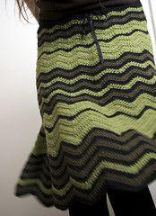 ♥ Ravelry: Zig Zag Skirt pattern by Mari Lynn Patrick - crochet - green/khaki/black