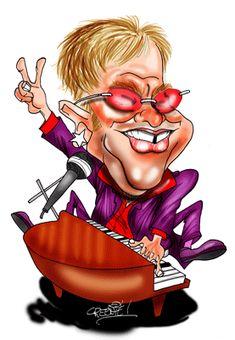 caricature of Elton John by David Green