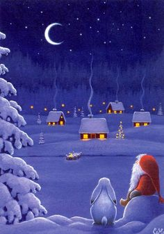 christmas illustration eva melhuish - G - Christmas Scenes, Noel Christmas, Vintage Christmas Cards, Christmas Pictures, All Things Christmas, Winter Christmas, Christmas Crafts, Christmas Decorations, Christmas Bunny