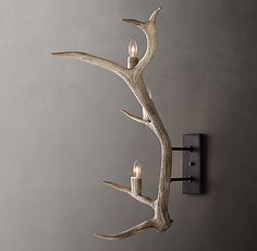 RH's Natural Antler Sconce - Left:Handcrafted from naturally shed elk antlers, our rustic sconce highlights the sculptural drama of this striking natural form. Antler Crafts, Antler Art, Antler Lights, Shed Decor, Elk Antlers, Home Goods Decor, Cool Woodworking Projects, Modern Shop, Decoration