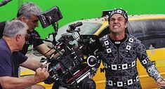Mark Ruffalo on the Avengers set in his Hulk motion capture suit --- woah, so THAT'S how they did it :O mindblown