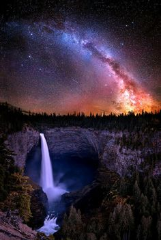 Milky way over Hellken falls,  California USA