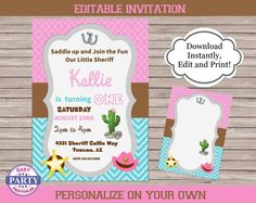 Sheriff Callie Invitations coordinating por EasyPartyPrintables