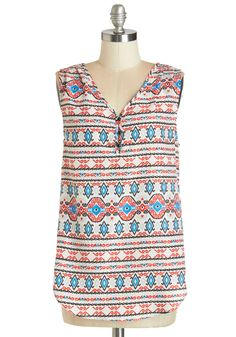 Whim You Over Top. Theres just something about this printed tank that has you swooning! #multi #modcloth