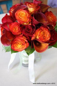 Bridal Bouquet: Mango Calla Lily, Royal Circus Rose, Freedom Rose and Salal Leaf