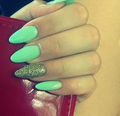 Aqua and green glitter almond nails