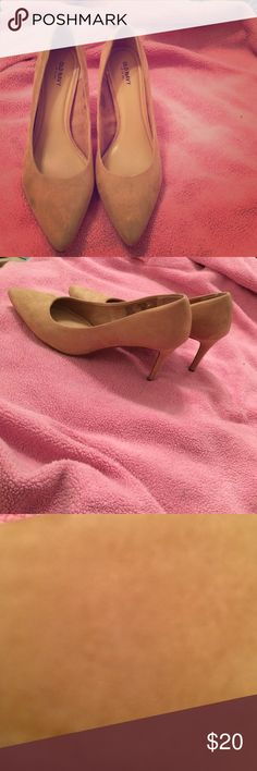 Old navy suede heels size 10 Never worn. Too tight for my big feet.  Super cute. Will go with everything- nude beige coloring. Great condition. Size 10. Old Navy Shoes Heels