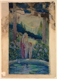 """Design for a window, """"Suffer the Children"""" - Louis Comfort Tiffany. Watercolor, gouache, and graphite on transparent paper adhered to off-white woven paper."""