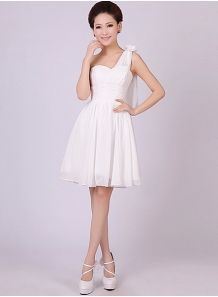 EMA - A-line Knee length Chiffon One shoulder Chinese Cheap Wedding Party Dress