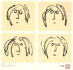Self portrait scrawls.  John Lennon