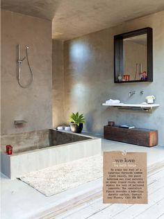 @Raewyn Stenhouse Stenhouse Stenhouse Stenhouse Berry love it all. Mirror shelp,  wooden log for towels cool idea.