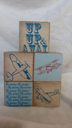 Retro Airplane Wood Blocks Boys Nursery Room Decor by TheBlockSpot, $26.25