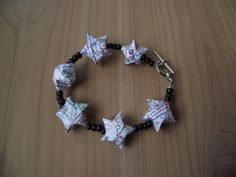 Find Your Way, One of a Kind Beaded Origami Lucky Star Recycled Map Bracelet
