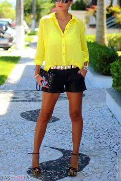 Yellow sheer shirt, black shorts and gold accessories! Hello summer.