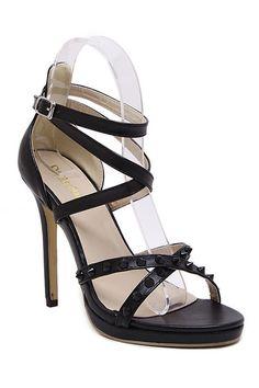 Cross Strap Rivet Stiletto Heel Sandals