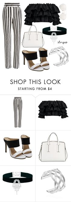 """""""Striped pants"""" by claudialogan ❤ liked on Polyvore featuring Dolce&Gabbana, Boohoo, French Connection, Linda Farrow, blackandwhite, sunglasses, blockheel, strippedpants and offshoulderstop"""
