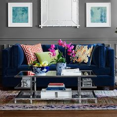 Wilshire Sofa, : Cozy room inspiration (with pink chair photo too) - lots of color! Blue Living Room Decor, New Living Room, Living Room Sofa, Living Room Furniture, Living Room Designs, Blue Velvet Sofa Living Room, Blue Furniture, Cheap Furniture, Best Leather Sofa