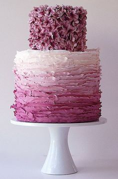 flower ombre wedding cake