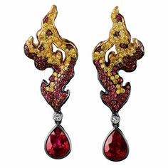 "Gemstone and gold ""Fire"" earrings by Jewellery Theatre"