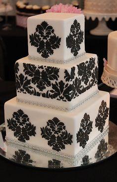 ombre, idea, damask wedding, damask cake, weddings, wedding cakes, potato pancakes, blues, tan