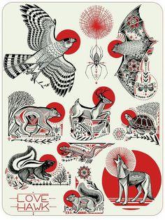 These would make amazing tattoos! Tattoos 3d, Animal Tattoos, Body Art Tattoos, Tree Tattoos, Sleeve Tattoos, Tatoos, Japon Illustration, Tattoo Illustration, Tatoo Art
