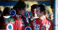 Race winner James Hunt talks to runnerup Niki Lauda after the presentation Lauda was awarded the win after Hunt was disqualified two months later for. James Hunt, Johnny Herbert, 20th Anniversary, World Championship, Grand Prix, Race Cars, Ferrari, Racing, The Incredibles