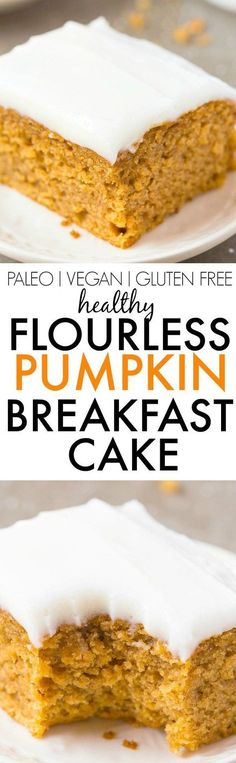 Healthy Flourless Pumpkin Breakfast Cake- Enjoy dessert for breakfast with this deceptively healthy cake which is dessert for breakfast- Tender on the outside, slightly dense and fluffy on the inside, this one bowl (quick and easy!) cake is LOADED with pumpkin and cinnamon flavor! {vegan, gluten free, sugar free, paleo recipe}- http://thebigmansworld.com