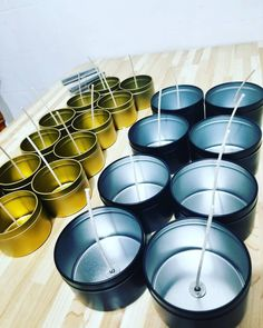 My gold 4 oz and black 8oz tin cans with lavender scent is ready. 😁♥️ #candle #candles #candlemaking #madebyme #homegoods #fragrance #relax #handpouredcandles #handcrafted #soywax #soycandles #scented #lavender #startnew #new #business #smallbusiness #entrepreneurmindset #online #etsy #etsyshop #shop #order #now #instagram #mtl #montreal #canada Candlemaking, Tin Cans, Montreal Canada, Lavender Scent, Soy Candles, Nespresso, Home Goods, Fragrance, Relax