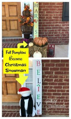 Our Christmas Porch decor this year features a Pumpkin Snowman! He is quite the conversation piece and a great way to repurpose those fall pumpkins Christmas Porch, Christmas Snowman, Kids Christmas, Christmas Crafts, Christmas Decorations, Christmas Pumpkins, Cheap Christmas, Pumpkin Snowmen, A Pumpkin