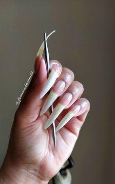 Long Natural Nails, Curved Nails, Icing