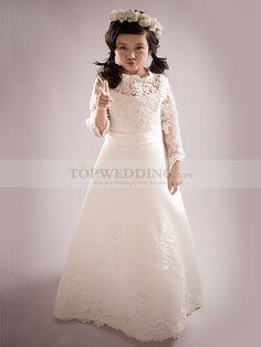 Lange Ärmel Satin A-Linie Blumenmädchen Kleid