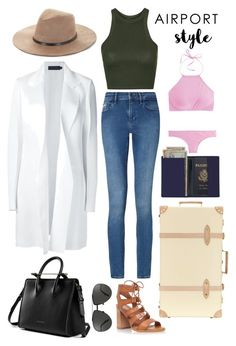"""""""GomezAirportStyle"""" by gomezel ❤ liked on Polyvore featuring Calvin Klein Collection, Calvin Klein, Topshop, BCBGMAXAZRIA, Linda Farrow, Globe-Trotter, J.Crew and Royce Leather"""