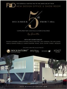 BIG OPENING 5th DECEMBER Showroom Miami. Between 5th December, from 7-10 PM. Address is 278 NW 37th Street-Miami-Florida, 33127. #luxuryfurniture #designpieces #miami