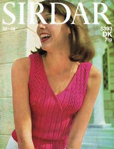 Genuine Vintage Ladies Unusual Summer LACY Cross-Over Neck Pink Top Knitting Pattern Knitting Patterns, Crochet Patterns, Free Knitting, Pink Summer, Vintage Knitting, Pink Tops, Female Models, Pretty In Pink, 1970s