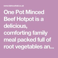 One Pot Minced Beef Hotpot is a delicious, comforting family meal packed full of root vegetables and peas! #LivePeasant
