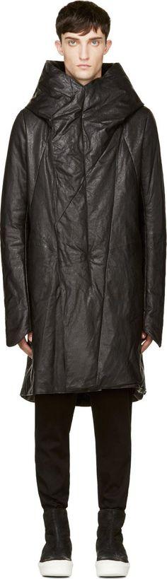 Julius Black Goat Leather Oversize Parka