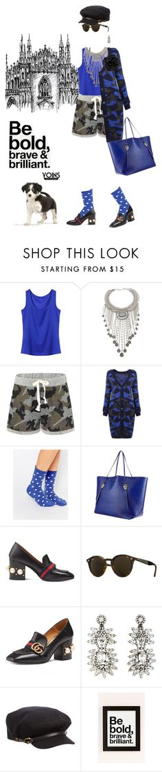 """""""Bold, brave and brilliant with yoins"""" by pensivepeacock ❤ liked on Polyvore featuring Forever 21, Plush, Thomas Wylde, Gucci, Ray-Ban, Kenneth Jay Lane, Burberry, Urban Outfitters, Chanel and MustHave"""
