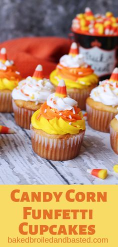 Candy Corns, love them or hate them these cupcakes are just adorable. These are a cute and easy cupcake to make with the kids and everyone will love them. Cupcake Flavors, Cupcake Recipes, Dessert Recipes, Cupcake Ideas, Fall Desserts, Dessert Ideas, Drink Recipes, Candy Corn Cupcakes, Little Muffins