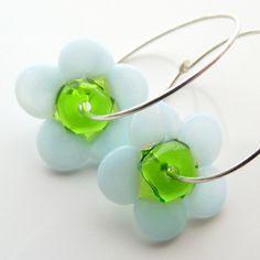 Blue glass earrings  lampwork earrings  flower by jinjajewellery